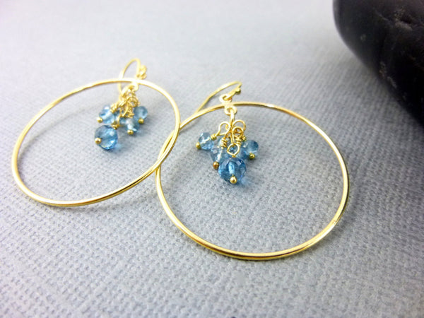 London Blue Topaz Earrings, 14K Gold Fill - Earth Energy Gemstones