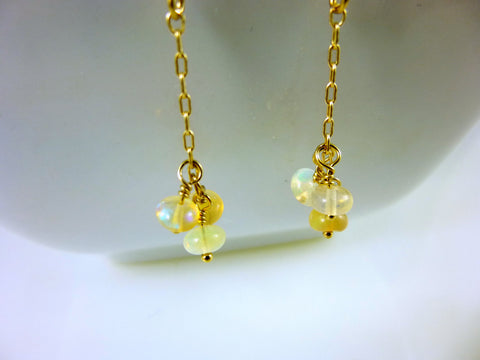 Ethiopian Welo Opal Threader Earrings, Chakra Earrings, 14kt Gold Filled