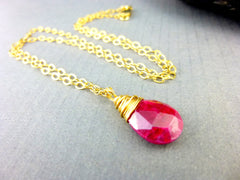 Ruby Pendant Necklace, Root & Heart Chakras, 14K Gold Fill