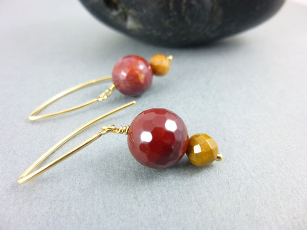 Mookaite Chakra Earrings, 14K Gold Fill - Earth Energy Gemstones