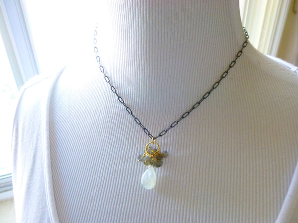 Moonstone Pendant Necklace with Labradorite - Earth Energy Gemstones