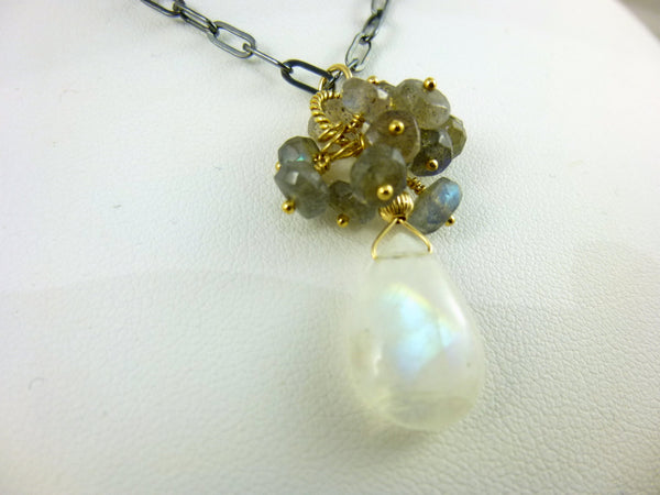 Moonstone & Labradorite Cluster Pendant, Mixed Metals Chakra Necklace