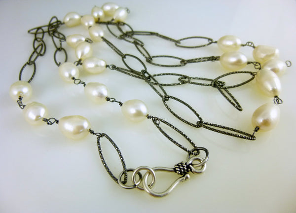 Long Pearl Chakra Necklace, Sterling Silver Chain & Wire Wrapped Freshwater Pearls
