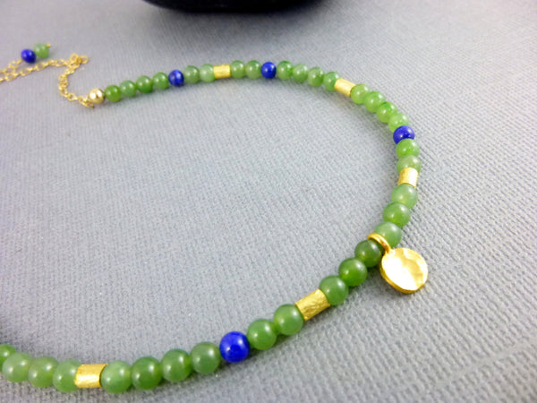Nephrite Jade & Lapis Chakra Necklace, Gold Vermeil Charm, 14K Gold Fill Chain