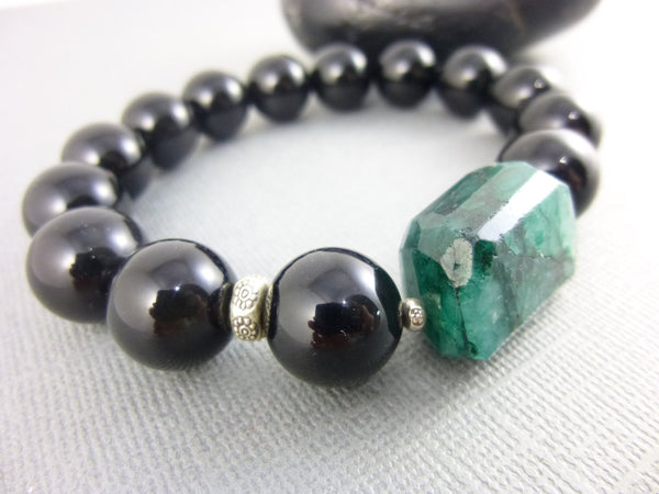 Black Onyx Chakra Bracelet, Emerald Focal - Earth Energy Gemstones