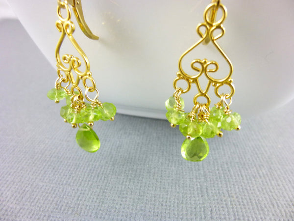 Peridot Chandelier Earrings, 14K Gold Fill Cluster Earrings - Earth Energy Gemstones