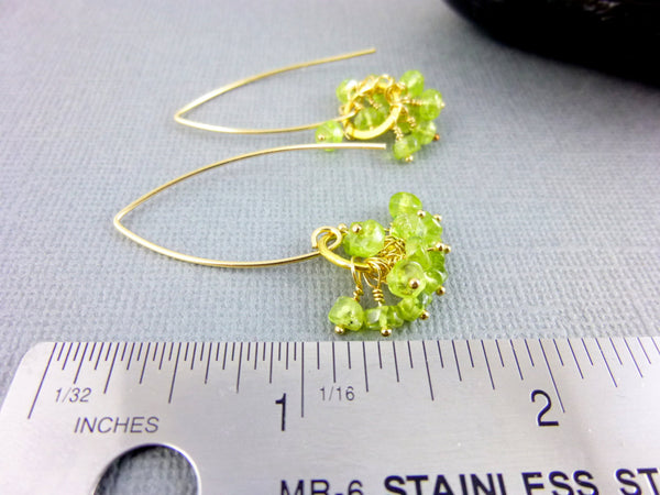 Peridot Heart Chakra Earrings, Peridot Clusters, 14K GF - Earth Energy Gemstones