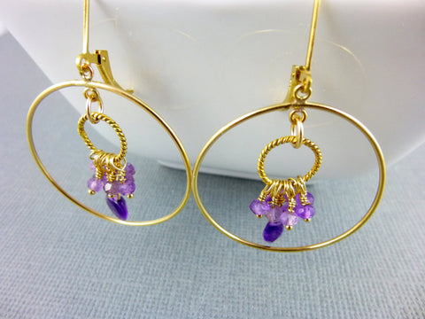 Amethyst Circle Hoops, Crown & Third Eye Chakras, February Birthstone
