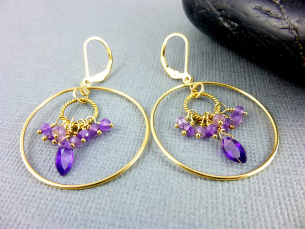 Amethyst Hoop Chakra Earrings, Crown & Third Eye Chakras - Earth Energy Gemstones