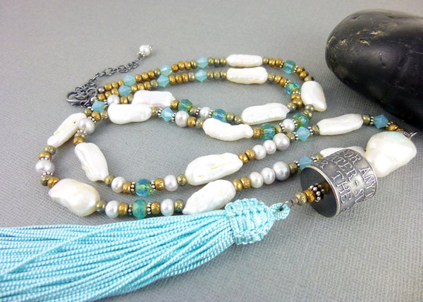 Anne Choi Silver Bead Necklace, Sterling Silver, Long Tassel Necklace - Earth Energy Gemstones