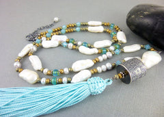 Anne Choi Talisman Bead & Pearl Necklace, Sterling Silver, Long Tassel Chakra Necklace