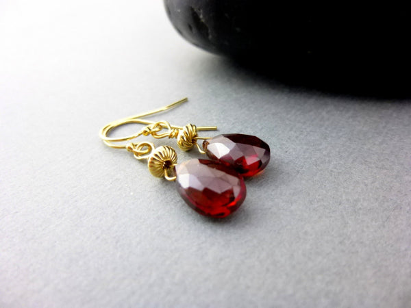 Garnet and 14K Gold Filled Heart Chakra Earrings, January Birthstone