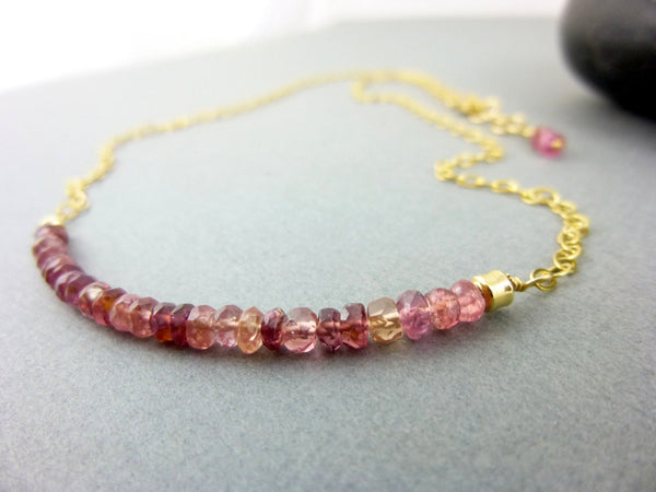 Pink Tourmaline Heart Chakra Necklace, 14K Gold Filled - Earth Energy Gemstones