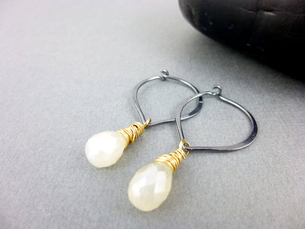 Pearl Chalcedony Chakra Earrings, Mixed Metals Wire Wrapped Briolette Earrings