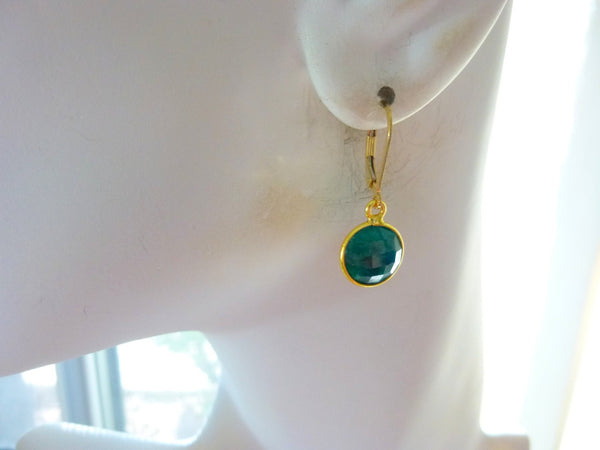 Emerald Heart Chakra Dangle Earrings, 14K Gold Fill - Earth Energy Gemstones