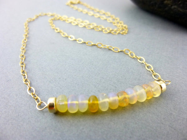 Welo Opal Bead Bar Necklace, 14k GF, Root & Sacral Chakras - Earth Energy Gemstones