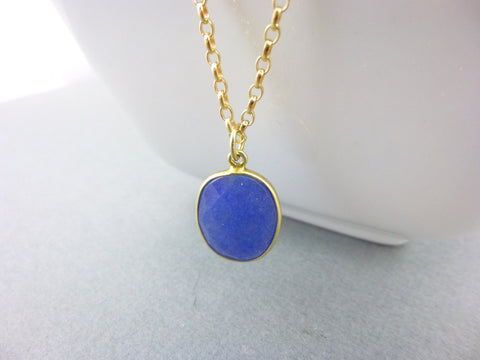 Blue Sapphire Pendant Necklace, Throat & Third Eye Chakras, 14k Gold Fill Rolo Chain - Earth Energy Gemstones