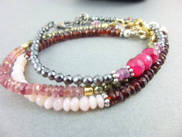 Ruby & Pink Sapphire Heart Chakra Bracelet with Hematite, Sterling Silver