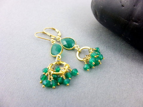 Green Onyx Heart Chakra Cluster Earrings, 14K Gold Fill Ear Wires