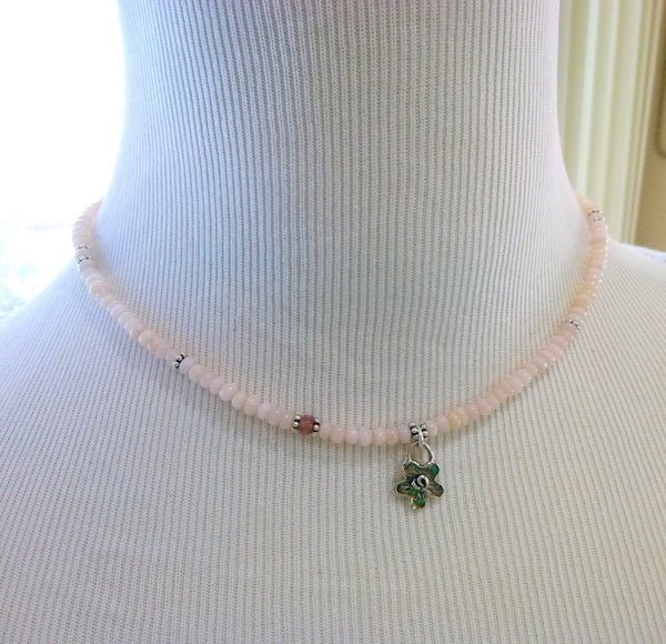 Pink Peruvian Opal Necklace, Heart Chakra - Earth Energy Gemstones