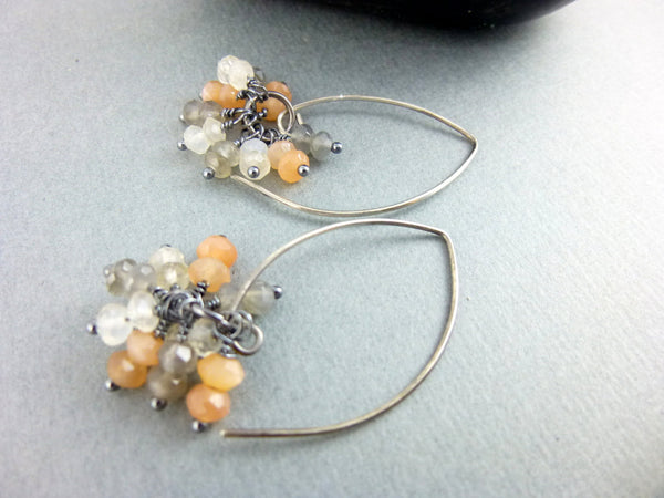 Peach Moonstone Chakra Earrings, Sterling Silver - Earth Energy Gemstones