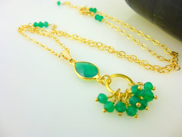 Green Onyx Heart Chakra Pendant Necklace, 14K Gold Fill Chain - Earth Energy Gemstones