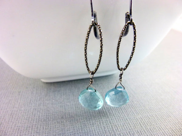 Aquamarine Chakra Earrings, March Birthstone, Sterling Silver - Earth Energy Gemstones