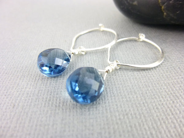 Colonial Blue Quartz Chakra Earrings, Wire Wrapped Briolettes & Sterling Silver Hoops