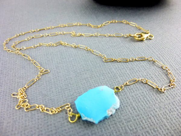 Tiny Turquoise Slice Chakra Necklace, 14K Gold Filled or Sterling Silver