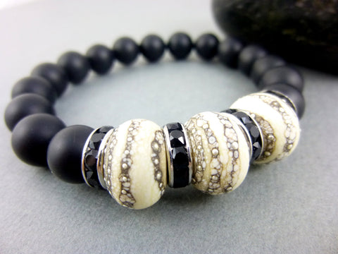 Matte Black Onyx Chakra Bracelet, Lamp Work - Earth Energy Gemstones