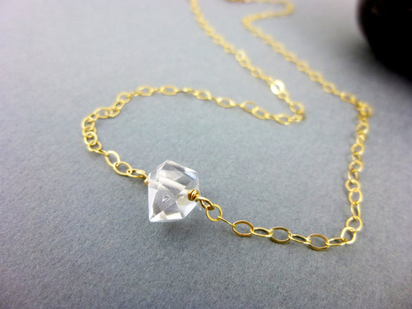 Herkimer Diamond Necklace, 14K Gold Filled, Double Terminated Crystal