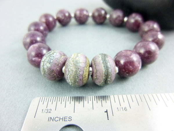 Dark Pink Stone Stretch Bracelet, Lepidolite - Earth Energy Gemstones