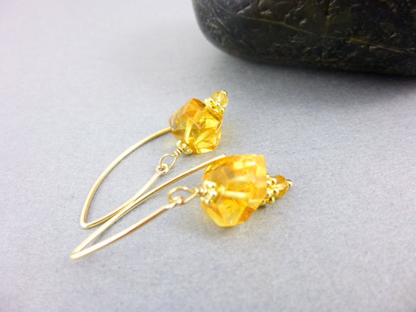Citrine Chakra Earrings, 14K Gold Fill - Earth Energy Gemstones