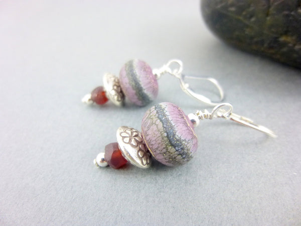 Garnet and Artisan Lamp Work Boho Earrings, Sterling Silver Ear Wires, Root & Heart Chakras