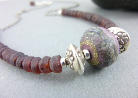 Boho Artisan Lamp Work & Garnet Chakra Necklace, Sterling Silver, January Birthstone