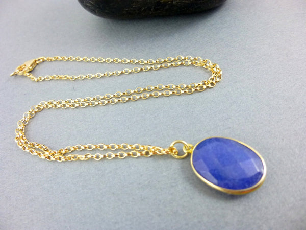 Sapphire Pendant Chakra Necklace, Throat & Third Eye Chakras, 14k Gold Fill Rolo Chain