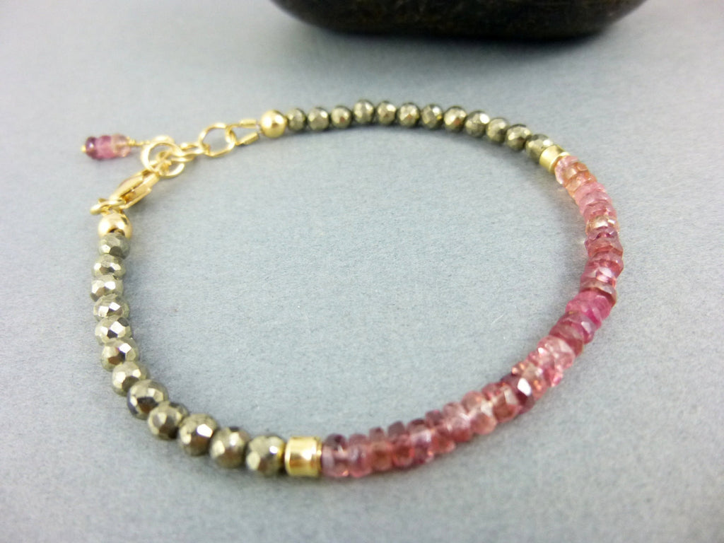 Pink Tourmaline Bracelet, Chakra Bracelet - Earth Energy Gemstones