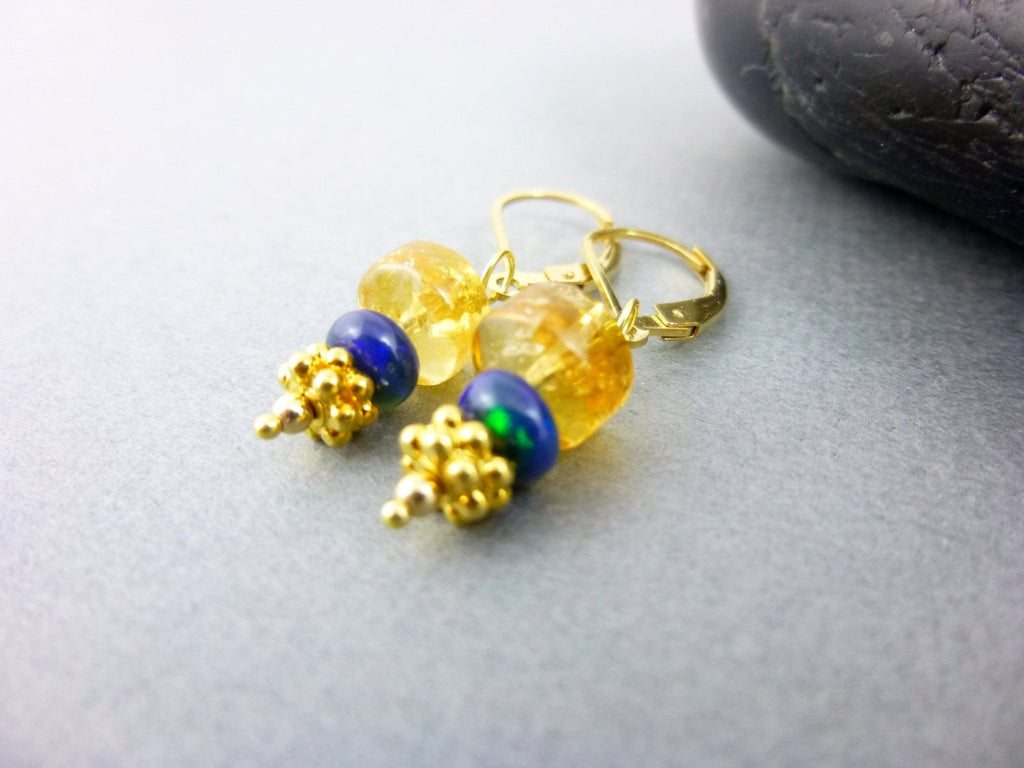 Citrine Chakra Earrings, Welo Opals, 14K Gold Fill - Earth Energy Gemstones