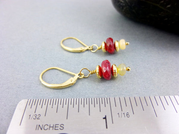 Ruby Chakra Earrings, Welo Opals - Earth Energy Gemstones