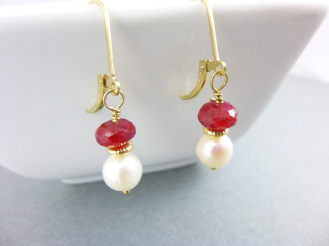 Ruby Chakra Earrings, Ruby and Pearl, 14K Gold Fill - Earth Energy Gemstones