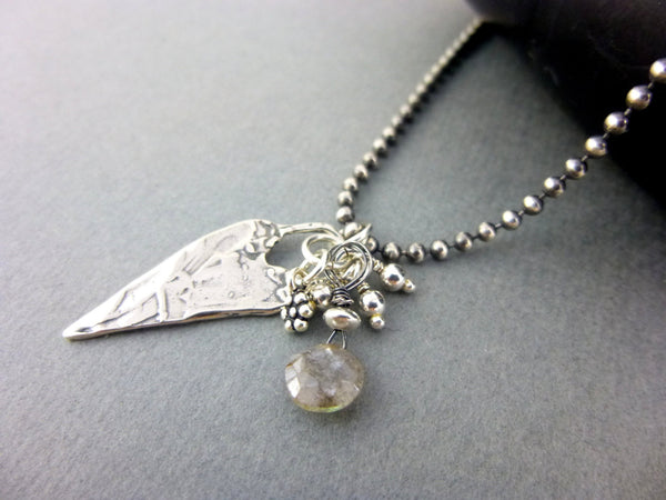 Sterling Silver Heart Charm Necklace, Labradorite with Tiny Charms