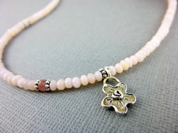 Pink Peruvian Opal & Sapphire Necklace, Heart Chakra Necklace with Sterling Silver Charm