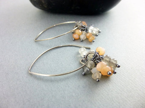 Peach Moonstone Chakra Earrings, Sterling Silver, Wire Wrapped Moonstone Clusters - Earth Energy Gemstones