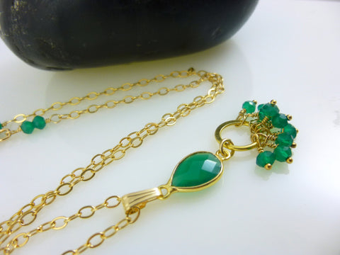 Green Onyx Heart Chakra Pendant Necklace, 14K Gold Fill Chain
