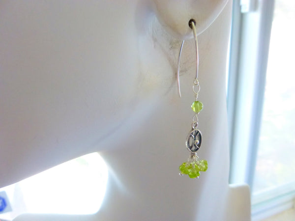 Peridot Cluster Earrings, Sterling Silver - Earth Energy Gemstones