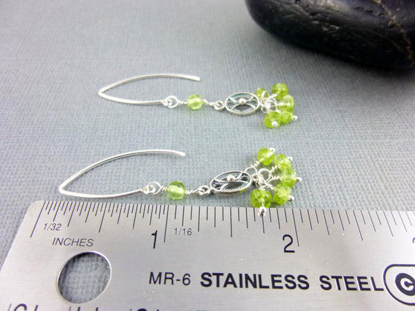 Peridot Chakra Earrings, Peridot & Sterling Silver Clusters, August Birthstone