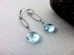 Aquamarine Chakra Earrings, March Birthstone, Sterling Silver