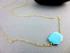 Tiny Turquoise Chakra Necklace, Organic Sleeping Beauty Turquoise Gem Slice, 14K Gold Fill