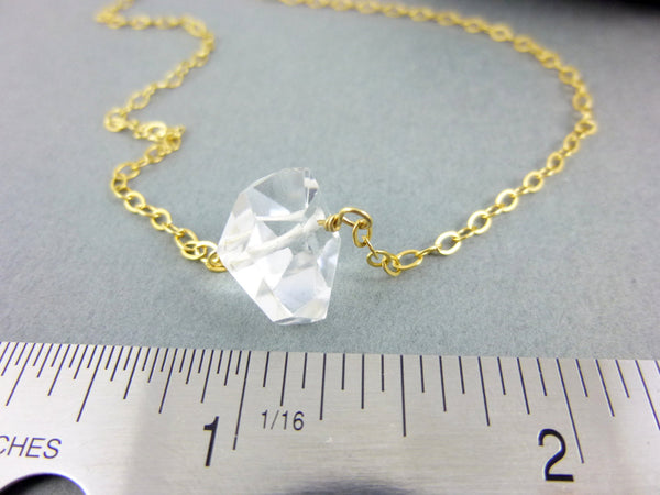 Crystal Quartz Chakra Necklace, All Chakras, 14K Gold Fill Chain