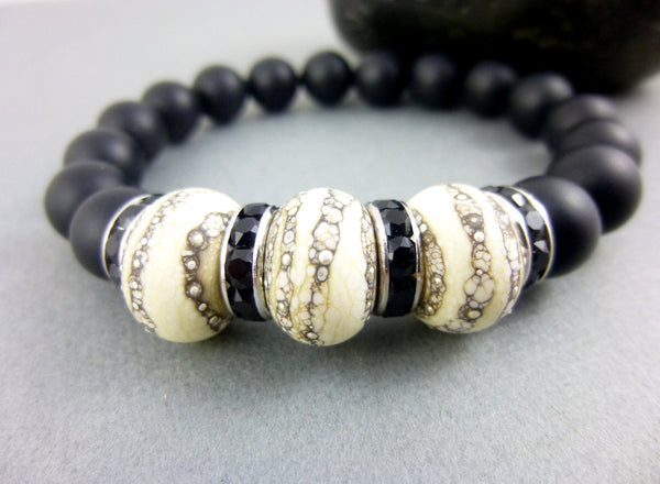 Lamp Work Matte Black Onyx Beaded Bracelet, Root Chakra